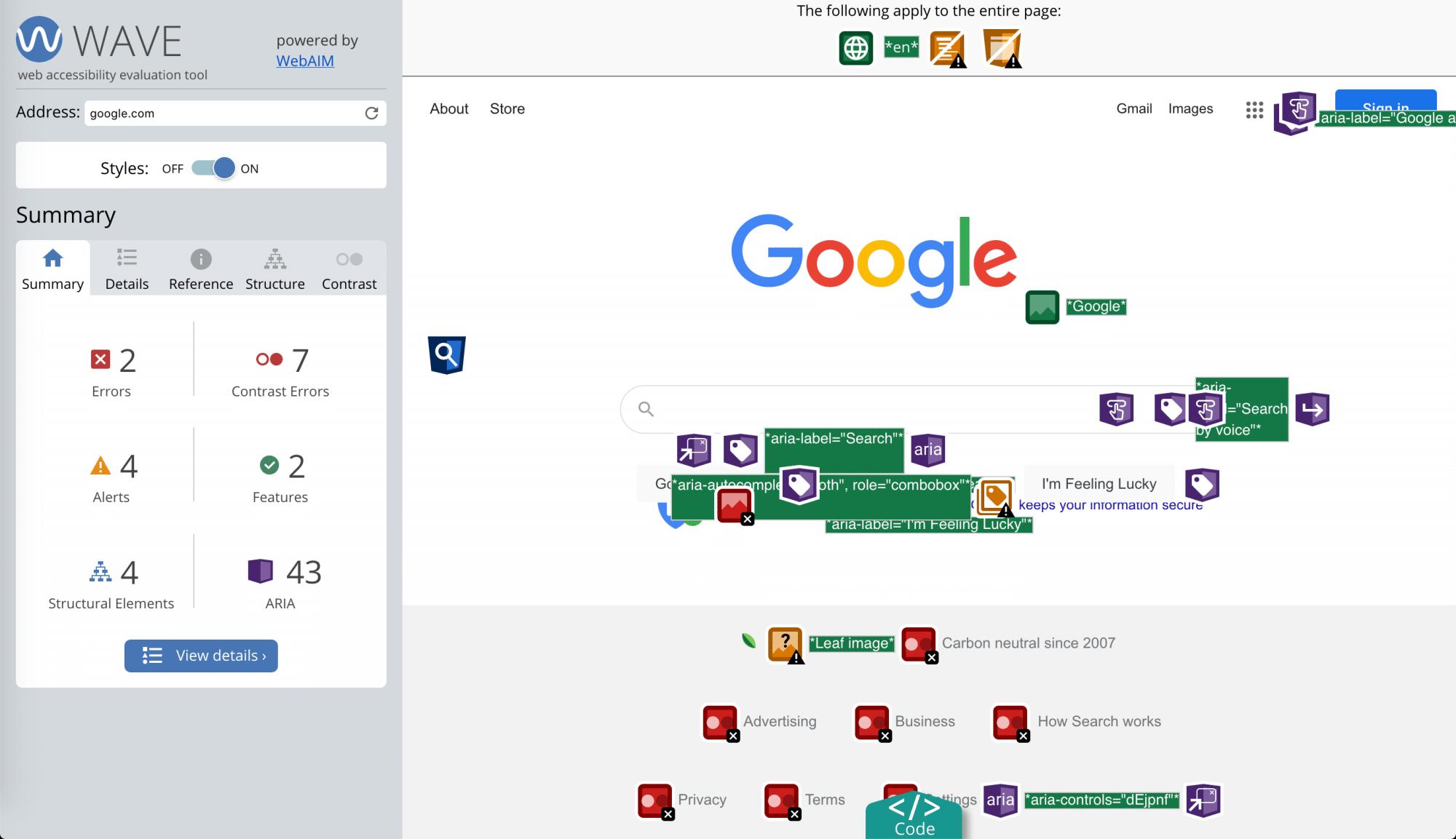 L'accessibilité de Google d'après l'outil Wave
