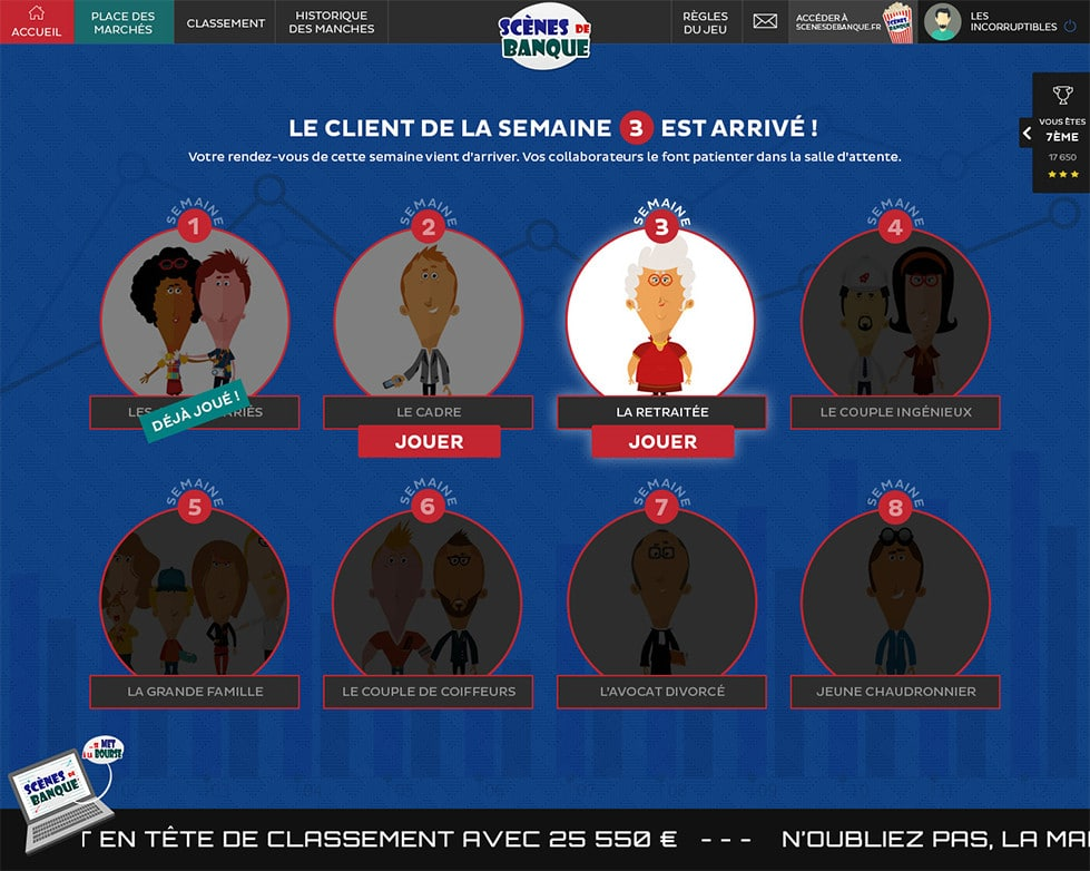 Exemple serious game CIC Sud Ouest